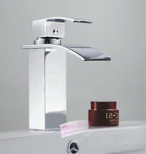 Contemporary Chrome Waterfall Wide Spout Bathroom Faucet Tap Vanity Mixer A126