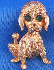 Green-Eyed Poodle Pin Brooch