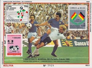 Bolivia 1990 - Sports Soccer World Cup Italy 90 Players Emblem Flags - MNH