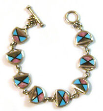 TAXCO .925 Sterling Silver Link Bracelet With Multi Stone Inlays double sided