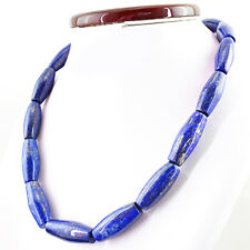 BEAUTIFUL 687.00 CTS NATURAL UNTREATED RICH BLUE LAPIS LAZULI BEADS NECKLACE