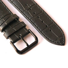22mm Men Black Genuine Leather Watch Band Strap Made for Fossil w Black Buckle