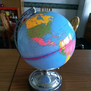 13'' inch Globe Touch Lamp with Bulb Rotating Globe Bedroom Childrens Room
