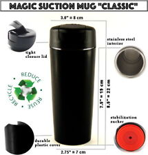 MAGIC SUCTION MUG Classic Black ✈ Travel coffee cup for all Mighty Hikes +GIFT🎁