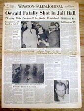 11-25-1963 Winston-Salem NC newspaper JACK RUBY KILLS LEE HARVEY OSWALD Kennedy