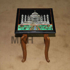 "12"" Tajmahal Table Top Marble Inlay Handicraft Wall Decorative Pietradura Mosaic"