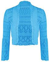 Womens Ladies Long Sleeve Crochet Bolero Shrug Cropped Knitted Cardigan Top 8-14