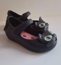 MINI MELISSA Girls Black Cat Jelly Mary Jane Shoes Ultragirl Kitty EUR 21 UK 4.5