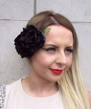 Large Double Black Rose Flower Hair Clip Rockabilly 1950s Fascinator Goth 2821