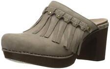 New Dansko DENI Studded Fringe Clog Mule Womens 41 Leather Nubuck Taupe NIB $160