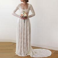Square Neck Long Sleeve A Line Lace Rustic Vintage Wedding Dresses Bridal Gowns
