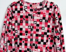Pink Black Skull Crossbones Footed Pajamas Heart Peace NEW L LAST ONE GIFT