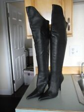 7b1ac404beb Charles by Charles David Black Leather Over the Knee Stiletto Heel Boot Sz 8