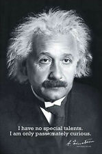 Albert Einstein PASSIONATELY CURIOUS Classic Science Wisdom Knowledge POSTER