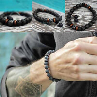 8mm Lava Rock Bracelet  Men Women Natural Stone Elastic Yoga Beads Bracelet