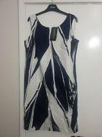 Pomodoro Navy/White Contour Shift Dress 11803 Size 14