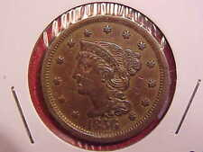 1856 LARGE CENT -THERE ARE A COUPLE SMALL RIM DINGS - AU - SEE PICS! - (N8906)