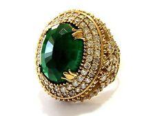 Turkish Ottoman 925 Sterling Silver Hurrem Sultan Gemstone Emerald Ring S