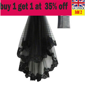 Halloween Black Gothic Wedding Veil Fancy Dress Costume Horror Women Bride nl