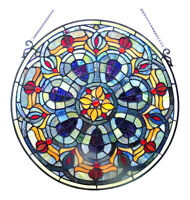 "FIRE & ICE TIFFANY BLUE ART DECO GEOMETRIC 20"" ROUND STAINED GLASS WINDOW PANEL"