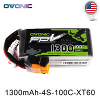 Ovonic 1300mAh 4S 14.8V 100C Lipo Battery Pack XT60 Plug FPV Drone Quad Heli