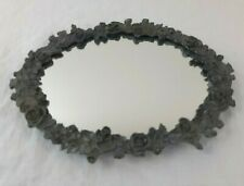 """Vintage Mirror Tray Perfume Dresser Small 8"""" x 6"""" Roses Floral Pewter Metal"""
