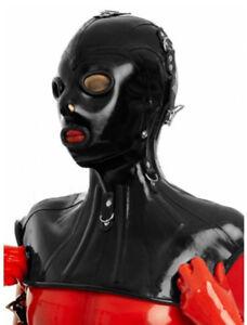 8051 Latex Rubber Gummi Mask Hood blindfold circle holes customized .7mm lace up