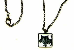 CUTE HALLOWEEN BLACK SCARDY CAT ALTERED ART SCRABBLE TILE PENDANT NECKLACE