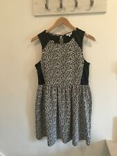 New Look Black & White Floral Dress With Faux Leather Details Size 16 Worn Once