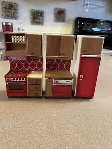 Lundby Dollhouse Furniture Kitchen Set Cabinets Appliances Vintage 70's swedish