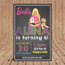 Personalised BARBIE Kids Birthday Party Invites Invitations DIGITAL -  YOU PRINT