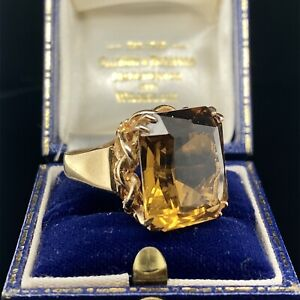 9ct  GOLD CITRINE STATEMENT RING (VIDEO AVAILABLE)