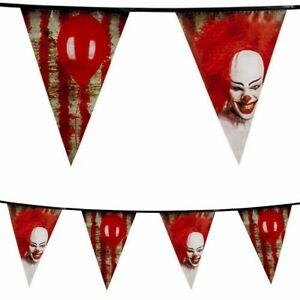 Horror IT Clown Plastic Bunting Halloween Circus Flag Party Decoration Banner 6m