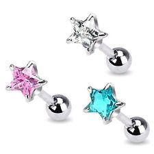 3 lot STAR Gem EAR CARTILAGE /TRAGUS Bar Studs Rings Barbells Piercing Jewelry