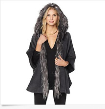 Adrienne Landau Women's Gray Faux-Fur Trim Hooded Cape Size Med. / Lrg.