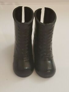12' DOLL SHOES BLACK BOOTS FOR FEMALE DOLLS W/ BIG ARCHED FEET
