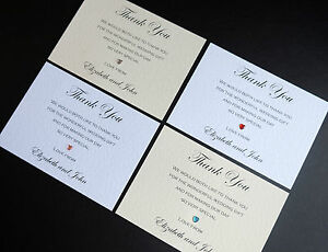 10 Handmade Personalised Wedding Thank You Notes Cards & Envelopes *FREE P&P*