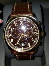 Men's Victorinox Watch 241647 Infantry Chrono Brown Dial Brown Leather Strap