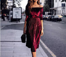 Women Off Shoulder Sexy Velvet Long Sleeve Party Cocktail Dress Pleated Slim