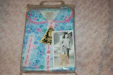 """Pyjama Vintage Fille Bleu et Fleurs """"c'est un tissu Lorraine"""" 10 ans"""