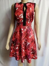 ABS by Allen Schwartz red flame floral sleeveless exposed zipper dress, L