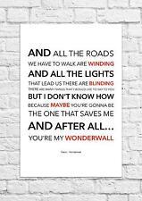 Oasis - Wonderwall - Song Lyric Art Poster - A4 Size