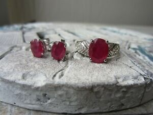925 Sterling Silver Ruby Oval Gemstone RING SZ 9 & Solitaire Stud EARRINGS SET