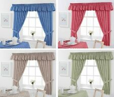 GINGHAM CHECK KITCHEN CURTAINS OR PELMET COUNTRY LOOK READY MADE PENCIL PLEAT