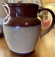"""Vintage 2-Tone Pottery Crock 7.75"""" Pitcher Stoneware Tan & Brown"""