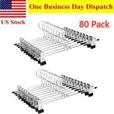 80pcs Metal Pants Hangers W/ Clips Stainless Steel Skirt Hanger for Men Women
