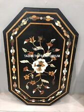 3'x2' Inlay Black Decorative Marquetry Dining Center Patio Marble Table Top E132
