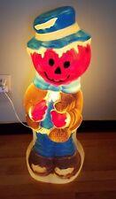 "Vintage Halloween Plastic Blow Mold 34"" Pumpkin Scarecrow Light Up Yard Decor"