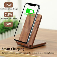 INSMA 15W Wooden Qi Wireless Charger Fast Charging Stand Dock For iPhone 8 X 11