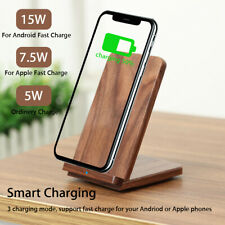 INSMA 15W Wooden Qi Wireless Charger Fast Charging Stand Dock For iPhone 8 X